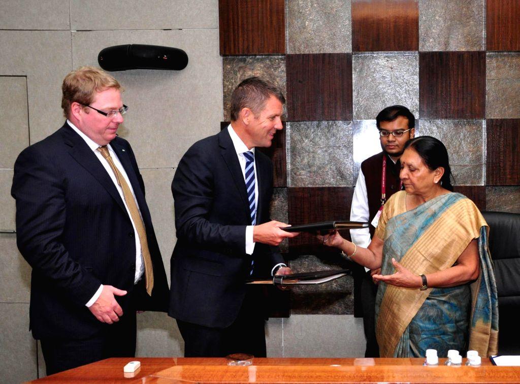 An Australian delegation calls on Gujarat Chief Minister Anandiben Patel in Gandhinagar, on Jan 10, 2015. - Anandiben Patel