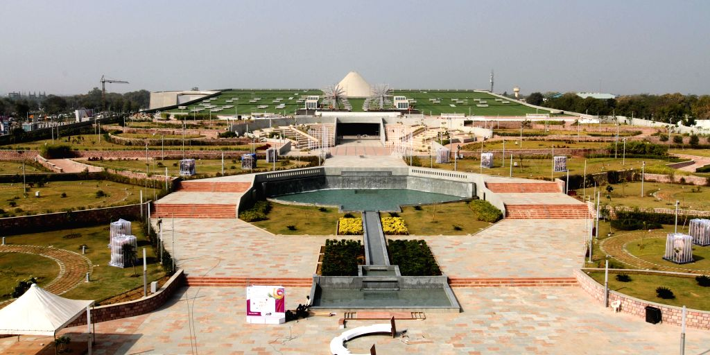 Mahatma Mandir, the venue of the upcoming Pravasi Bhartiya Divas and Vibrant Gujarat-2015 in Gandhinagar on Jan. 3, 2015.