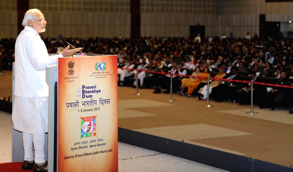 Prime Minister Narendra Modi delivers the inaugural address to the Indian Diaspora at the Pravasi Bharatiya Divas, in Gandhinagar, Gujarat on Jan 8, 2015. - Narendra Modi