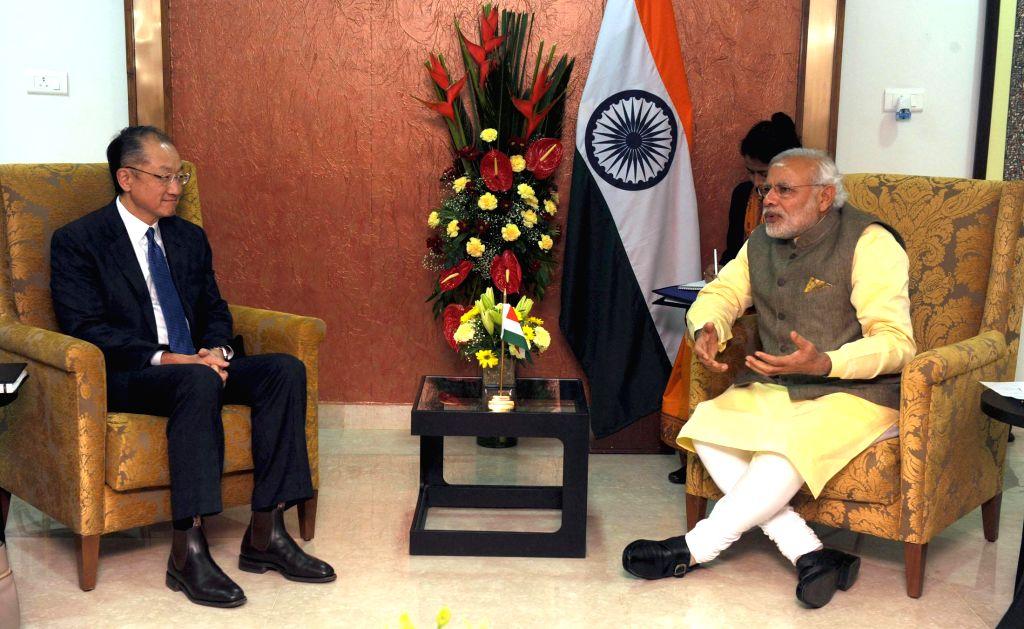 Prime Minister Narendra Modi during a meeting with the President of World Bank, Jim Yong Kim, in Gandhinagar, Gujarat on Jan 11, 2015. - Narendra Modi