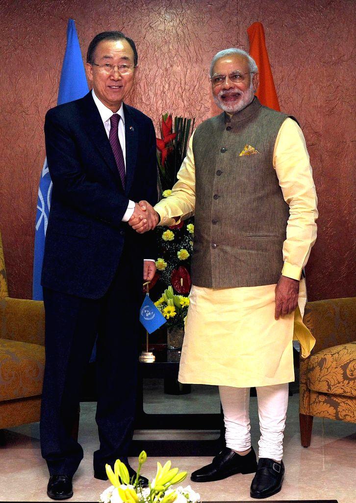 Prime Minister Narendra Modi meets the UN Secretary General Ban Ki Moon, in Gandhinagar, Gujarat on Jan 11, 2015. - Narendra Modi