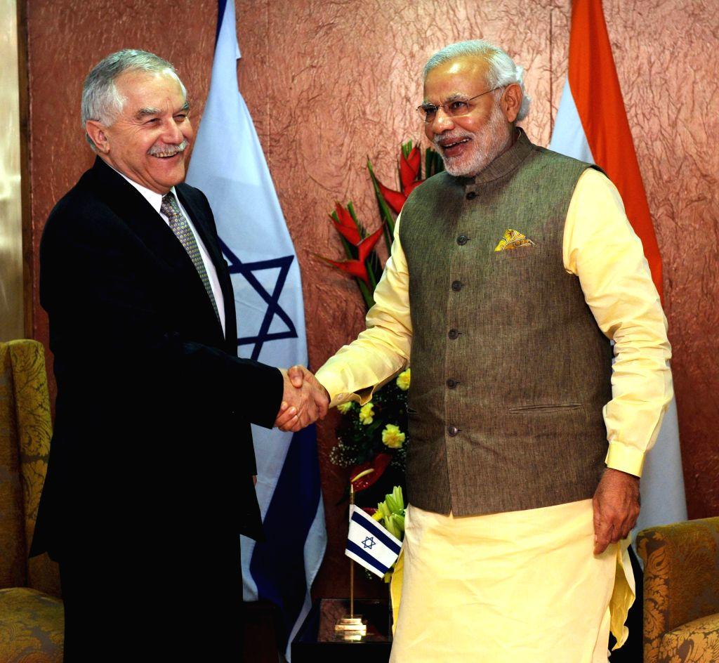 Prime Minister Narendra Modi meets the Agriculture Minister of Israel, Yair Shamir, in Gandhinagar, Gujarat on Jan 11, 2015. - Narendra Modi