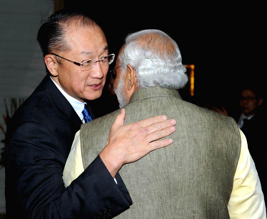 Prime Minister Narendra Modi with the UN Secretary General Ban Ki Moon, at the 7th Vibrant Gujarat Global Summit 2015, in Gandhinagar, Gujarat on January 11, 2015. - Narendra Modi