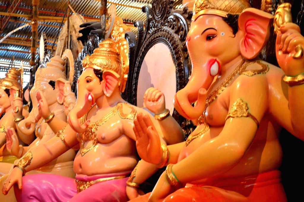 Ganesh idols at a Mumbai workshop on Aug 16, 2015.