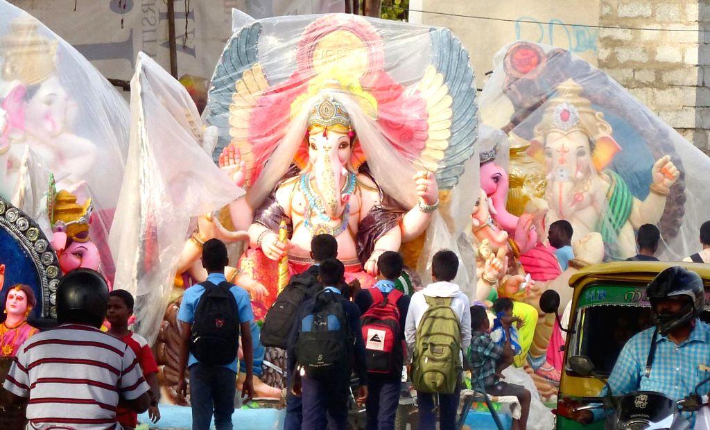 Ganesh idols being sold in Bengaluru ahead of Ganesh Chaturthi on Aug 23, 2016.