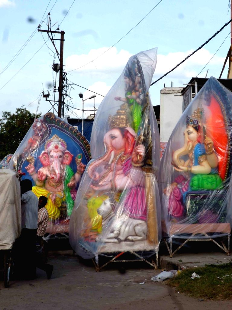 Ganesh idols being sold in Hyderabad ahead of Ganesh Chaturthi on Aug 21, 2016.