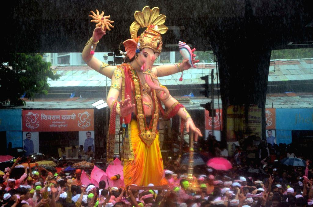 Ganesha idol immersions underway on Anant Chaturdashi in Mumbai on Sept 15, 2016.
