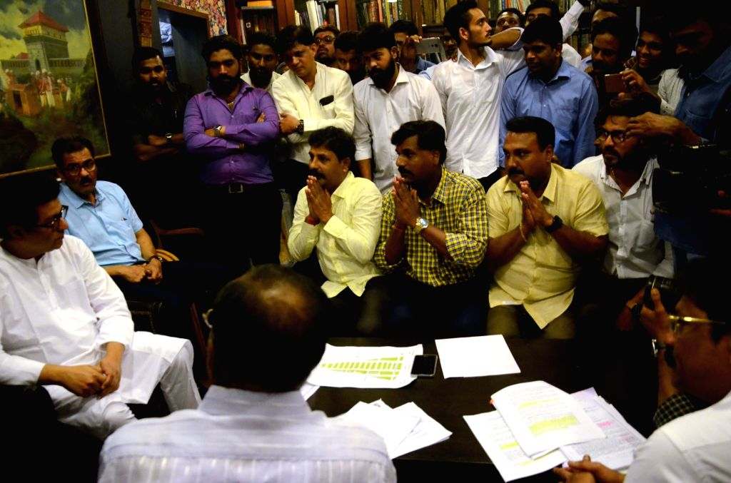 Ganeshotsav organisers meet MNS chief Raj Thackeray at his residence in Mumbai on July 31, 2018.