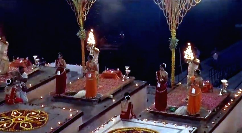 Ganga aarti' underway at Dashashwamedh Ghat with Prime Minister Narendra Modi and BJP chief Amit Shah (not in picture) in attendance in Varanasi, on April 25, 2019. - Narendra Modi and Amit Shah