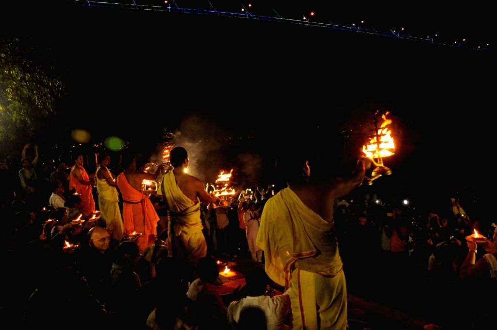Ganga Aarti underway at Princep Ghat in Kolkata, on Nov 22, 2015.