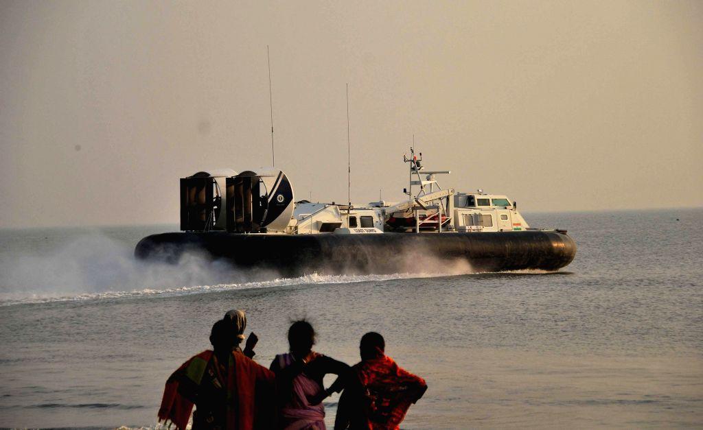 A hovercraft approaches the Gangasagar island some 160 km south of Kolkata on Jan 13, 2015.