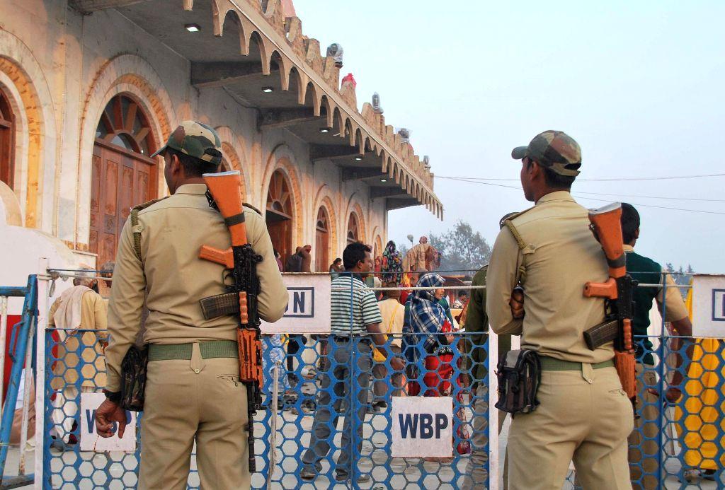 Security beefed-up in front of Kapilmuni's Ashram at the Gangasagar island, some 160 km south of Kolkata on Jan 12, 2015.
