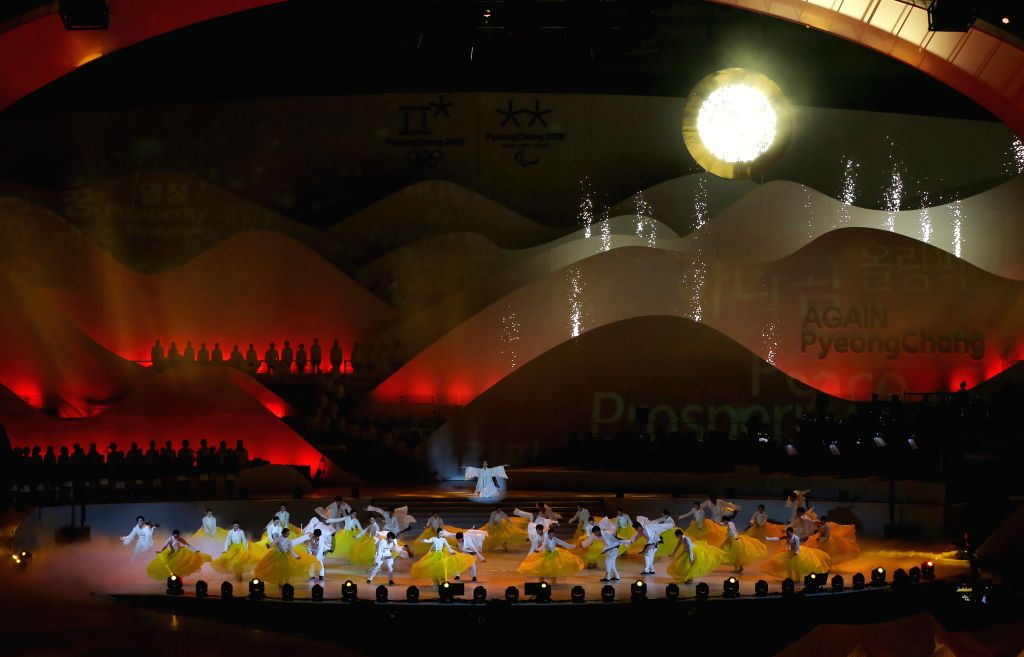 GANGNEUNG, Feb. 9, 2019 - Actors perform during the first anniversary festival of the Pyeongchang Winter Olympics and Paralympics at Gangneung Ice Arena in Gangneung, South Korea, Feb. 9, 2019.