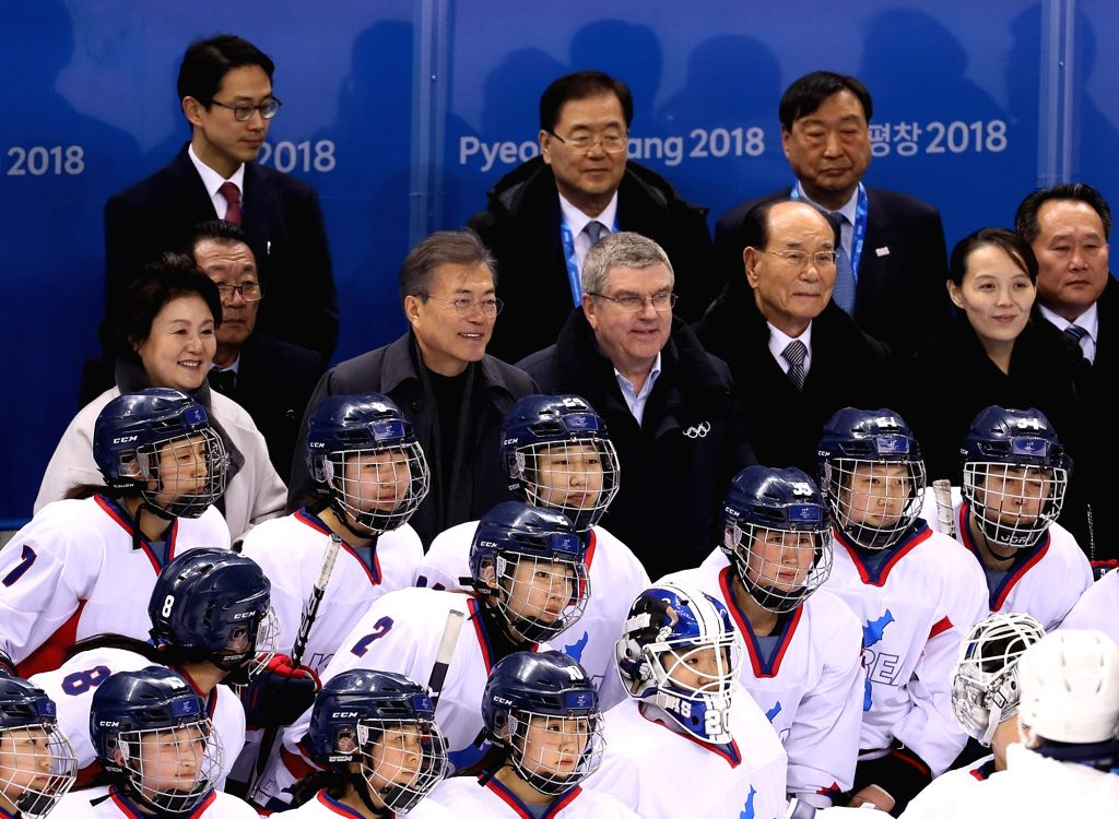 Gangneung: President Moon Jae-in (2nd from L, 4th row), along with International Olympic Committee President Thomas Bach (3rd from L, 4th row) and Kim Yong-nam (2nd from R, 4th row), president of North Korea's Presidium of the Supreme People's Assemb