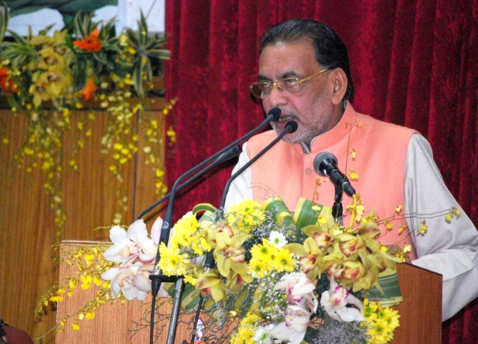 Gangtok : Union Minister for Agriculture and Farmers Welfare Radha Mohan Singh addresses at the National Conference on Sustainable Agriculture and Farmers Welfare, in Gangtok, Sikkim on Jan 17, 2016.