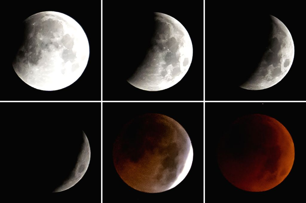 GANZI, July 28, 2018 - Combo photo taken on July 28, 2018 shows the stages of a total lunar eclipse in Ganzi County, southwest China's Sichuan Province. It is believed to be the longest lunar eclipse ...