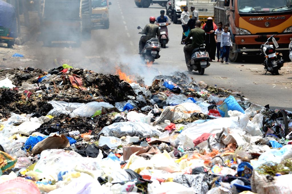 Garbage piled up on a street, in Bengaluru on June 5, 2018. June 5 is observed as World Environment Day.