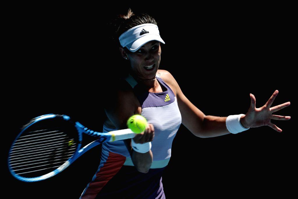 Garbine Muguruza of Spain competes during the women's singles quarterfinal against Anastasia Pavlyuchenkova of Russia at the Australian Open tennis tournament in ...