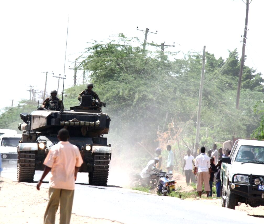A military tank is seen near Garissa University College in Garissa, Kenya, April 2, 2015. Kenyan Interior Minister Joseph Nkaissery said the siege at the Garissa ... - Joseph Nkaissery