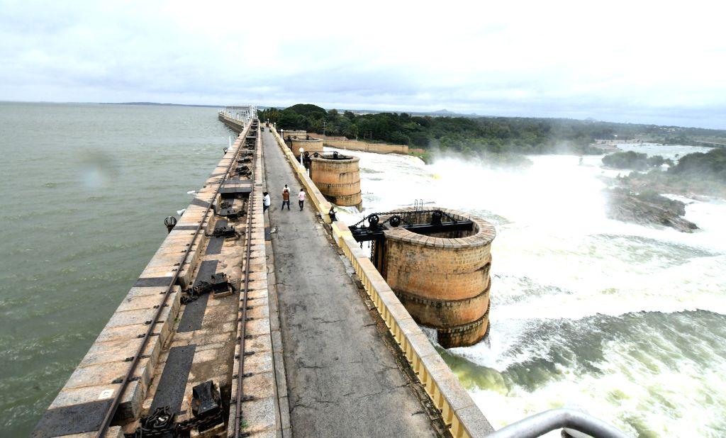 Gates of the Krishna Raja Sagar (KRS) Dam were lifted after the reservoir reached 112 feet mark and the authorities had to release 50, 000 cusecs of water, in Mysuru, Karnataka on Aug 10, ...