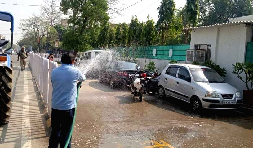 Gautam Buddha Nagar District Magistrate's Office being sanitised, in Noida on March 21, 2020.