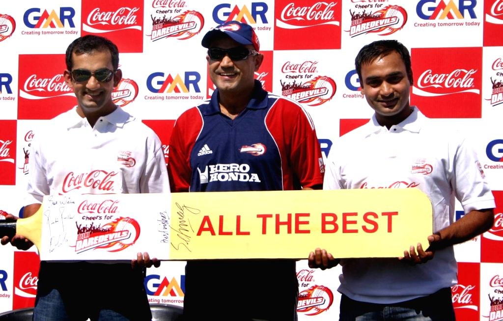 Gautam Gambhir, Virender Sehwag and Amit Misra at the special send off for the Delhi Daredevils team for the IPL 2nd Season, in New Delhi on Saturday 11 April 2009.