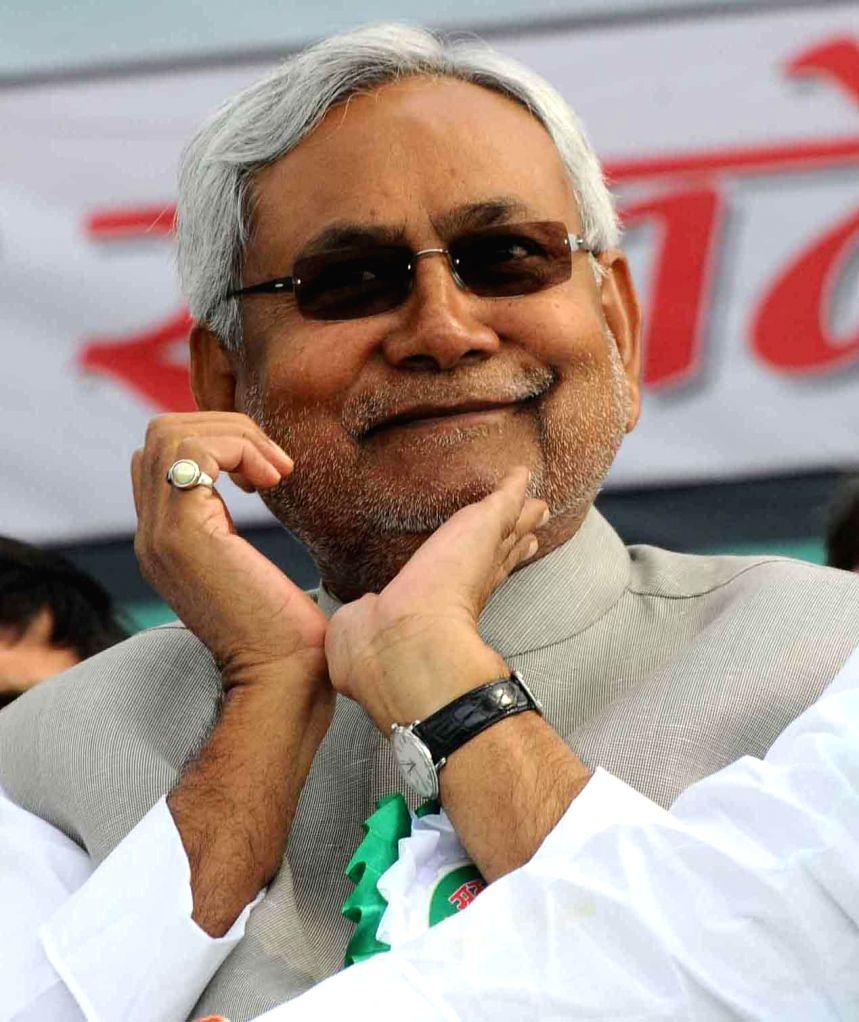 JD (U) leader Nitish Kumar during a party programme in Gaya on Nov 26, 2014. - Nitish Kumar