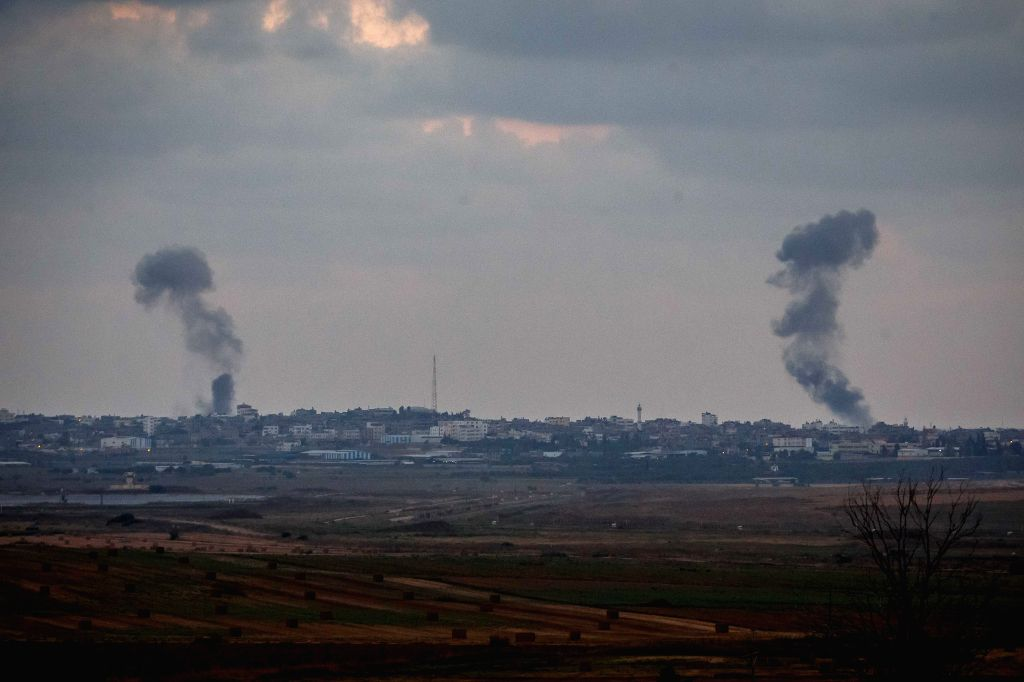 Smokes rise following Israeli air strikes in the northern Gaza Strip, on July 15, 2014. Rocket fire from Gaza on Tuesday killed an Israeli civilian near the ...