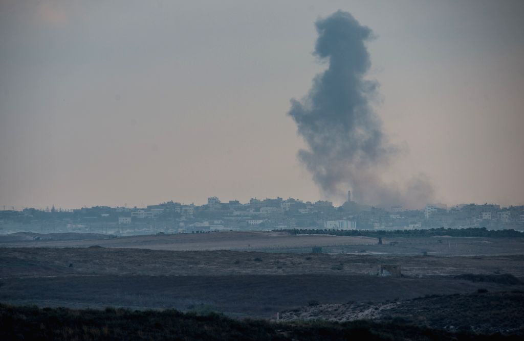 Smoke rises following an Israeli airstrike in the northern Gaza Strip, on July 19, 2014. Two Israeli soldiers were killed in a fire exchange with Palestinian ...