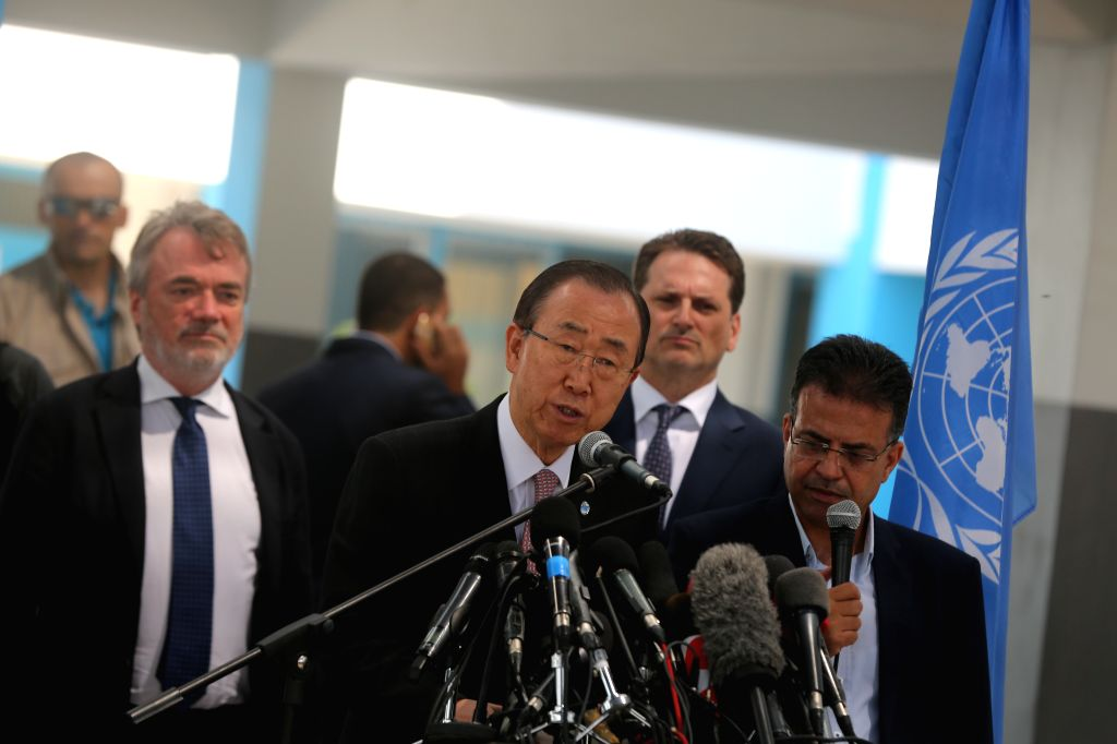 GAZA CITY, June 28, 2016 - United Nations Secretary General Ban Ki-moon (C) speaks during a news conference at a school run by the United Nations Relief and Work Agency for Palestine Refugees in Gaza ...