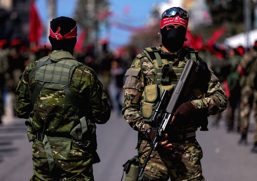 GAZA, Feb. 23, 2019 - Palestinian militants of the National Resistance brigades, the armed wing of the Democratic Front for the Liberation of Palestine (DFLP), take part in a military march marking ...