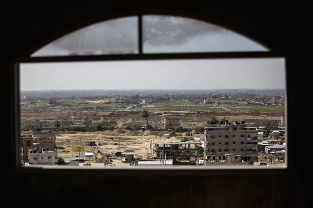 GAZA, Feb. 25, 2017 - A general view of the border between the southern Gaza Strip town of Rafah and Egypt is seen near the southern Gaza Strip town of Rafah, on Feb. 25, 2017. Reports of the death ...
