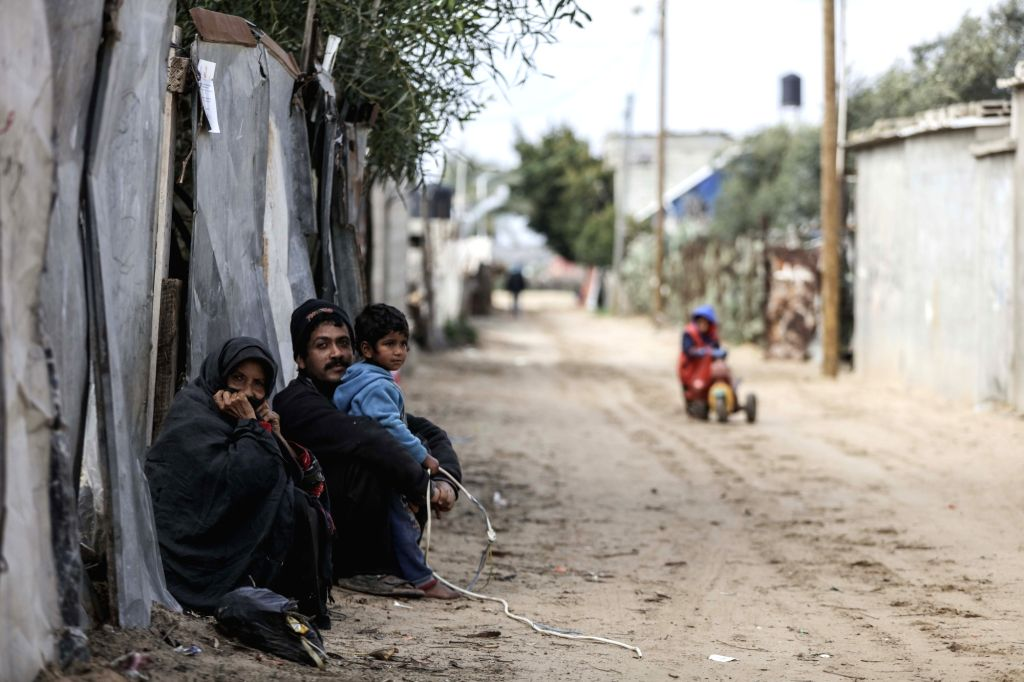 GAZA, Jan. 17, 2018 - Palestinian refugees are seen at al-Shati refugee camp in Gaza City, on Jan. 17, 2018. The United Nations Relief and Works Agency for Palestine Refugees (UNRWA) said Wednesday ...