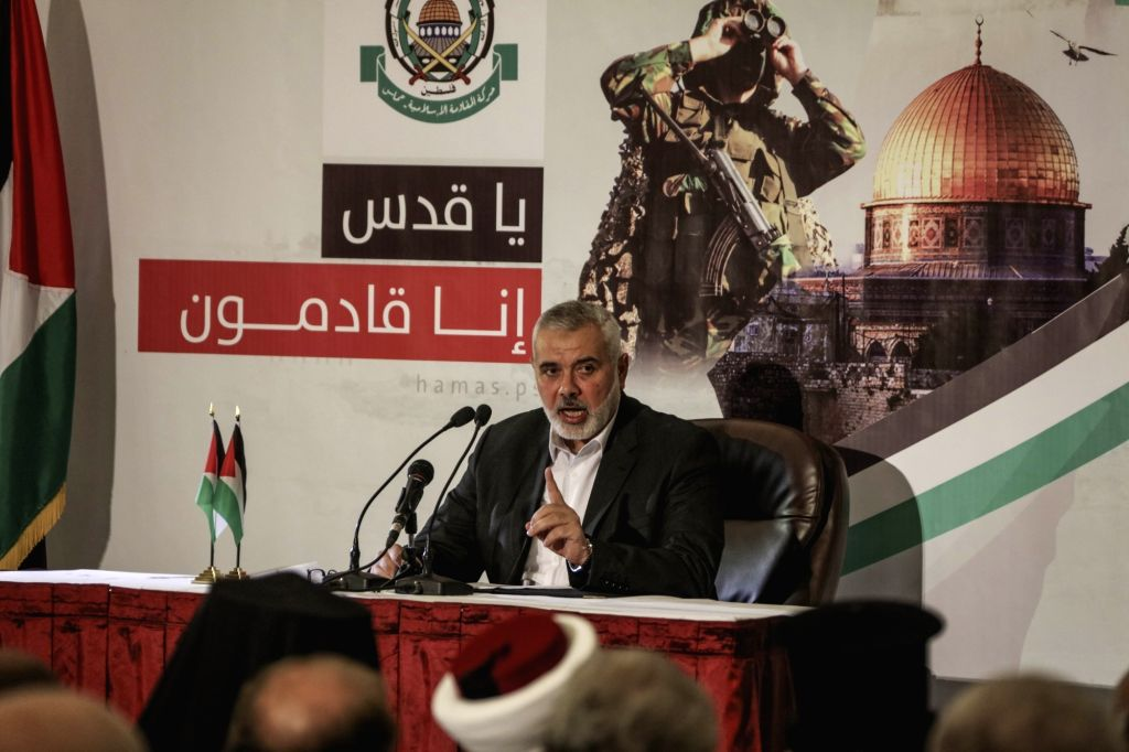 GAZA, July 5, 2017 - Islamic Hamas movement leader Ismail Haniya gives a speech in Gaza City, on July 5, 2017. Islamic Hamas movement leader Ismail Haniya on Wednesday called for forming a ...