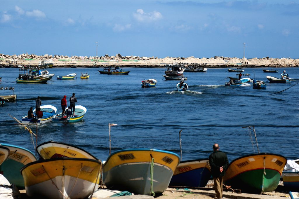 GAZA, May 10, 2019 - Palestinian fishermen go fishing on their boats at the seaport in Gaza, May 10, 2019. Israel announced it is loosening restrictions on fishermen off the blockaded Gaza Strip by ...