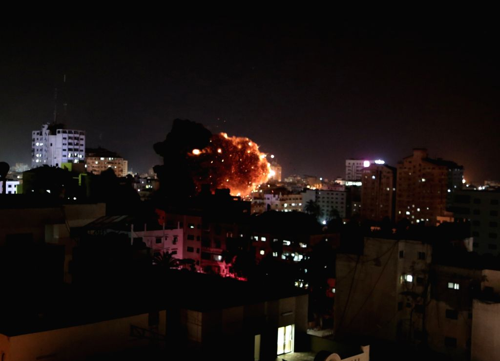 GAZA, May 4, 2019 - The photo taken on May 4, 2019 shows an explosion during an Israeli airstrike on Gaza City. The death toll on Saturday increased to four and more than 20 others were wounded ...