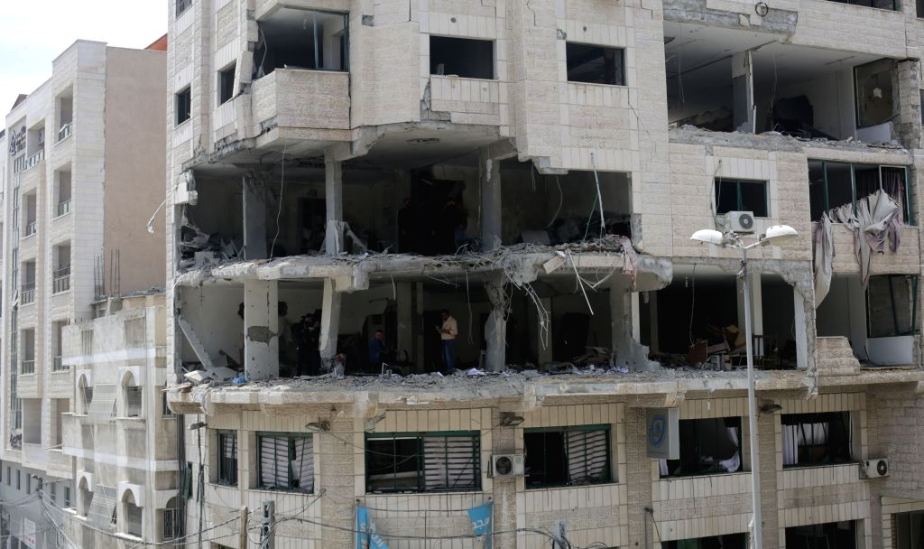 GAZA, May 5, 2019 - Photo taken on May 5, 2019 shows a building damaged during Israeli airstrikes in Gaza, May 5, 2019. At least 12 Palestinians have been killed and nearly 50 others wounded during ...