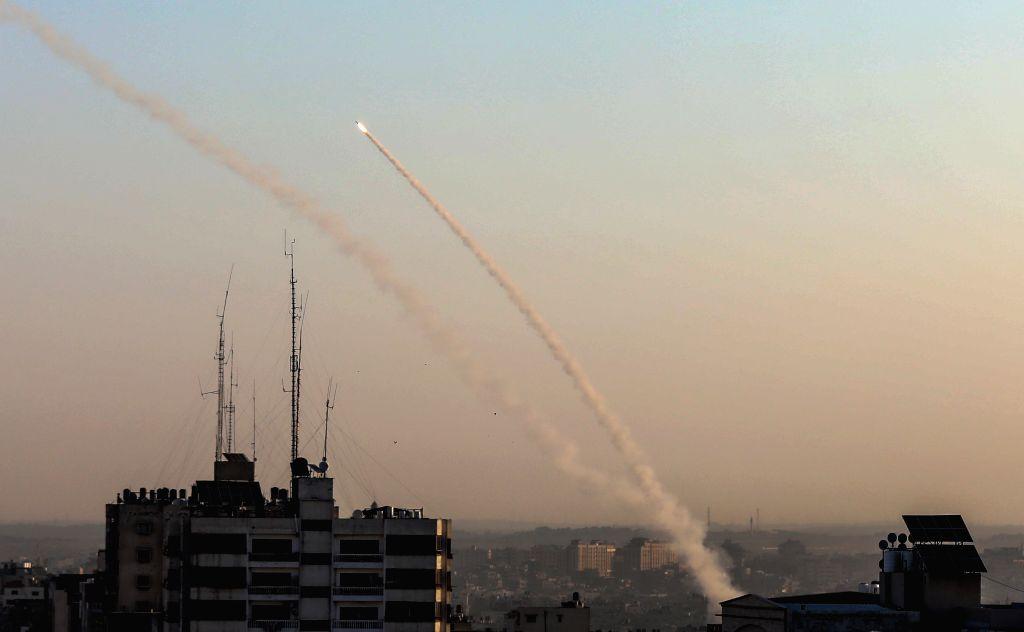 GAZA, Nov. 12, 2019 - Militants in the Gaza Strip fire rockets to Israeli cities on Nov. 12, 2019, following its killing of a senior Islamic Jihad commander. Baha Abu al-Atta, a senior militant and ...