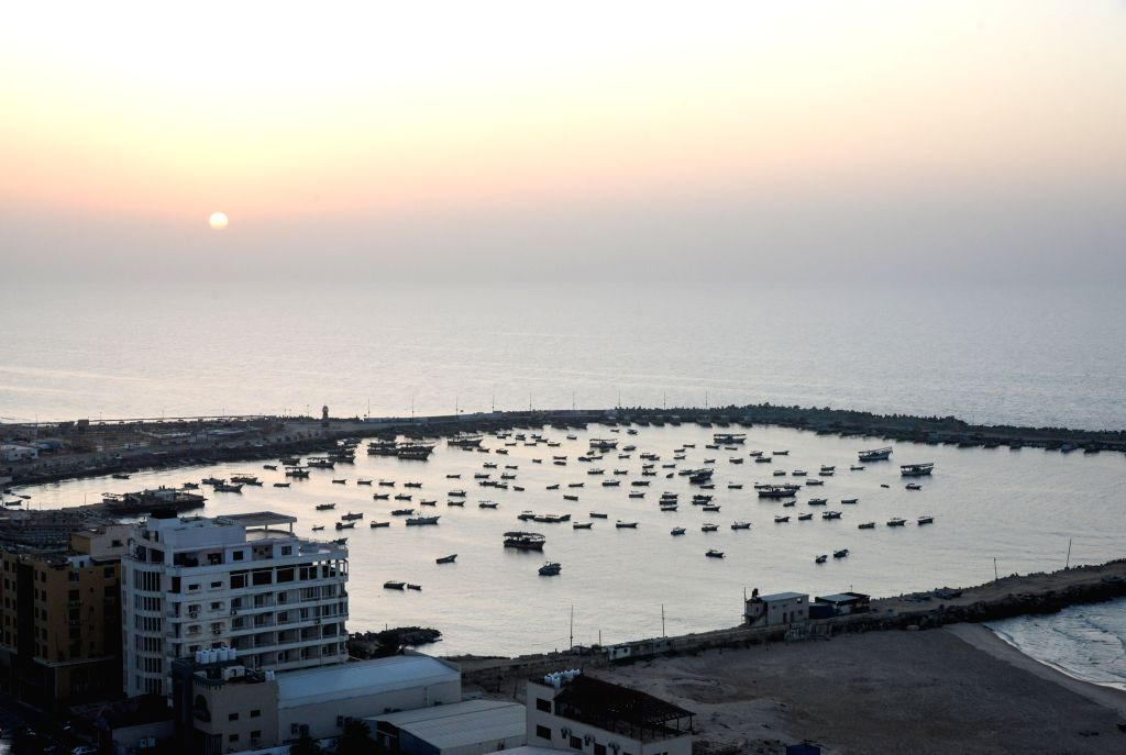 GAZA, Nov. 13, 2019 - Photo taken on Nov. 13, 2019 shows the boats dock inside Gaza port in Gaza City. The fear of war raised among the nearly 2 million Gaza Strip population as the newest wave of ...