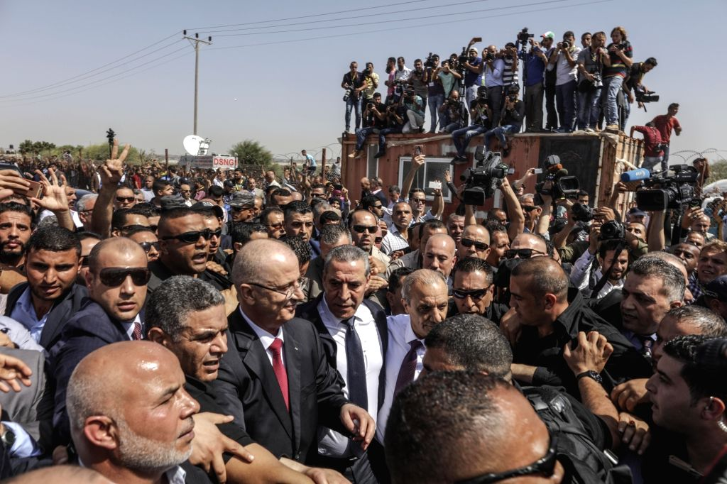 GAZA, Oct. 2, 2017 - Rami Hamdallah, Prime Minister of the Palestinian Consensus Government, arrives at Beit Hanun in the Gaza Strip after crossing the borders between the northern tip of the coastal ...