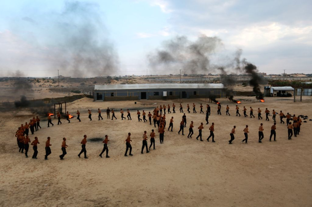 GAZA, Oct. 24, 2019 - Palestinian cadets take part in exercises at Al-Rebat College for Law and Police Science in the southern Gaza Strip City of Khan Younis, on Oct. 24, 2019. During the exercises, ...