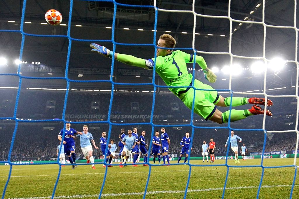 GELSENKIRCHEN, Feb. 21, 2019 - Leroy Sane (5th L) of Manchester City scores during the UEFA Champions League round of 16 first leg soccer match between Manchester City and FC Schalke 04 in ...