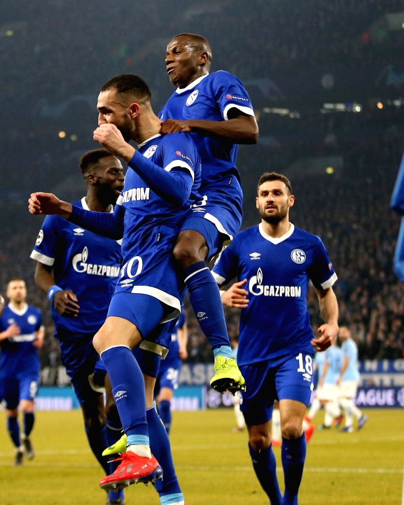 GELSENKIRCHEN, Feb. 21, 2019 - Players of Schalke 04 celebrate after scoring during the UEFA Champions League round of 16 first leg soccer match between Manchester City and FC Schalke 04 in ...