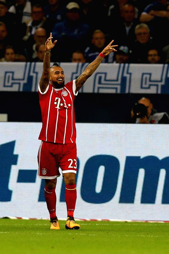 GELSENKIRCHEN, Sept. 20, 2017 - Arturo Vidal of Bayern Munich celebrates after scoring during the German Bundesliga match between Schalke 04 and Bayern Munich in Gelsenkirchen, Germany, on Sept. 19, ...