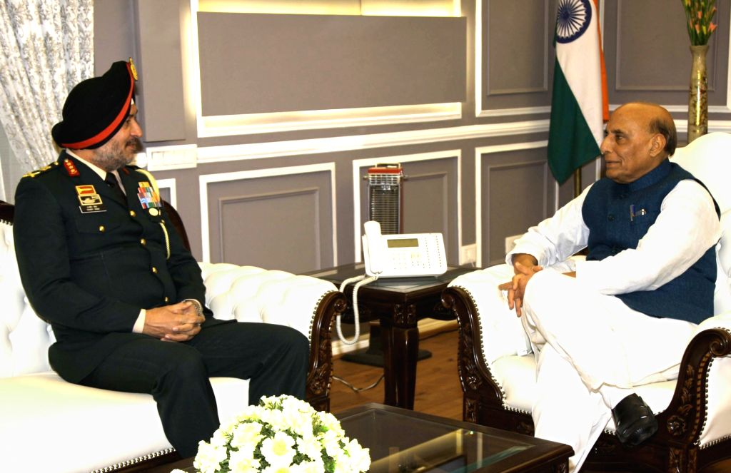 General Officer Commanding-in-Chief Northern Command Lieutenant General Ranbir Singh calls on Defence Minister Rajnath Singh, in New Delhi on Jan 27, 2020. - Rajnath Singh