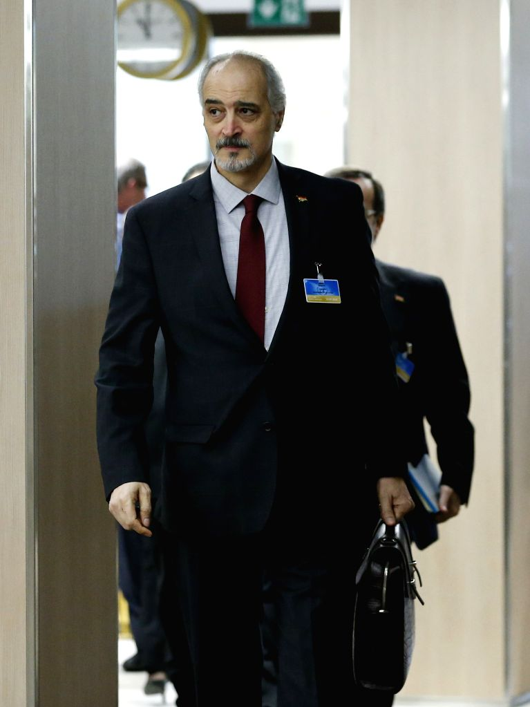 GENEVA, April 20, 2016 - Head of the Syrian government delegation Bashar Jaafari arrives for a meeting as part of the Syria peace talks in Geneva, Switzerland, on April 20, 2016.