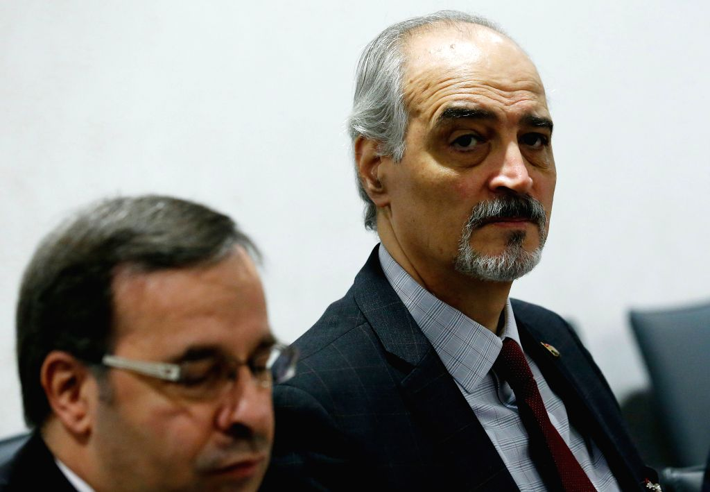 GENEVA, April 20, 2016 - Head of the Syrian government delegation Bashar Jaafari attends a meeting as part of the Syria peace talks in Geneva, Switzerland, on April 20, 2016.