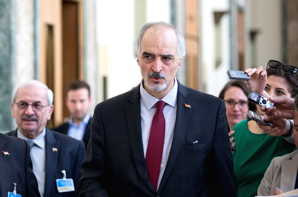 GENEVA, April 20, 2016 - Head of the Syrian government delegation Bashar al-Jaafari (C) leaves after a press conference following his meeting with UN Deputy Special Envoy for Syria, Ramzy Ezzeldin ...
