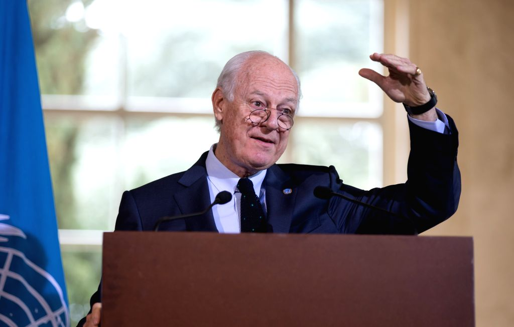 GENEVA, April 21, 2016 - UN Special Envoy for Syria Staffan de Mistura waves his hand during a press conference in Geneva, Switzerland, April 21, 2016. Staffan de Mistura reported Thursday that ...