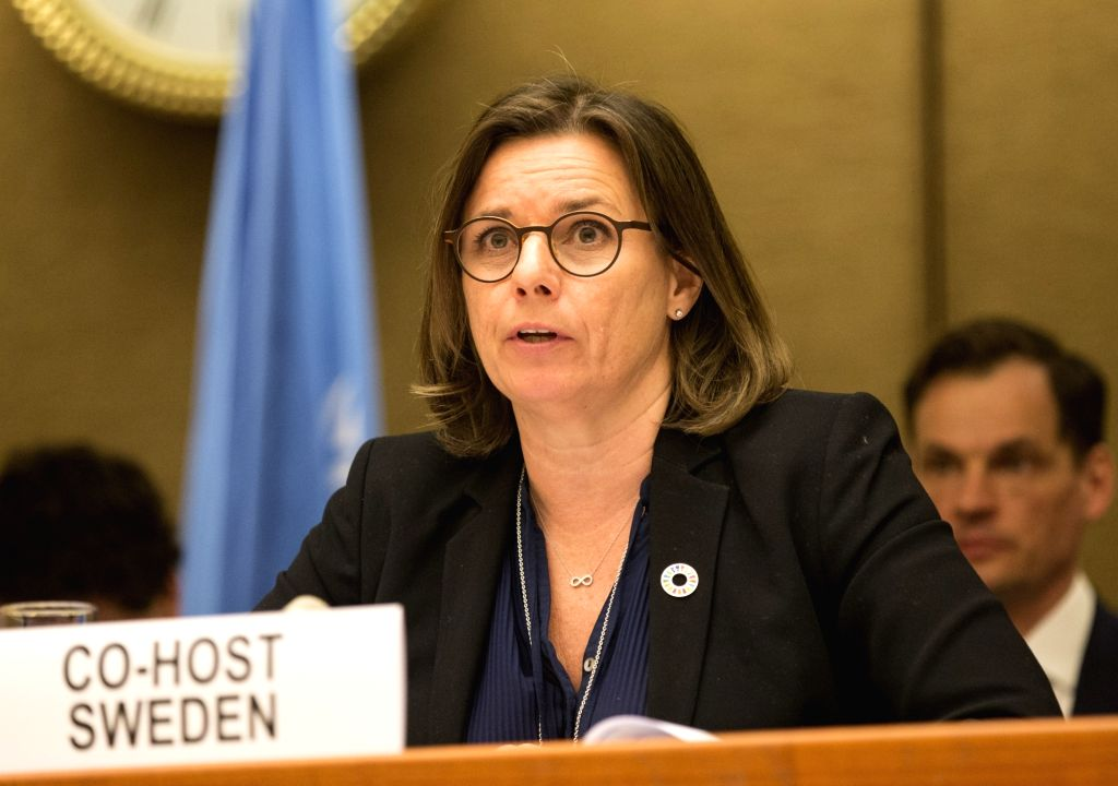 GENEVA, April 3, 2018 - Deputy Prime Minister of Sweden Isabella Lovin delivers a speech during the High-Level Pledging Event for the Humanitarian Crisis in Yemen at Palais des Nations in Geneva, ...